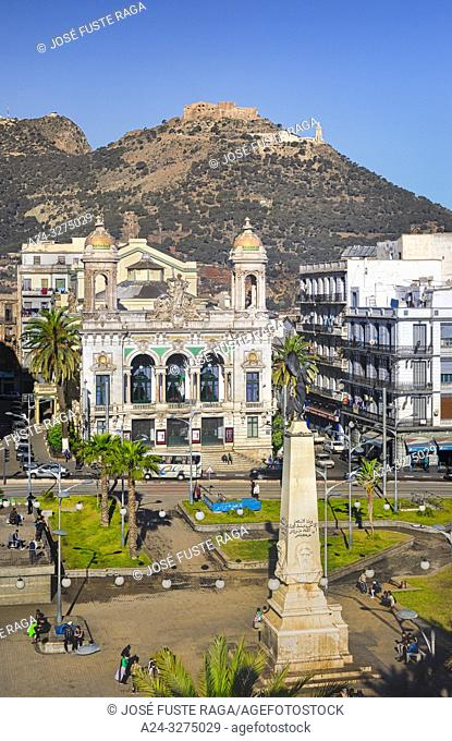 Algeria, Oran city , First of November Square, Liberty Monument and Regional Theater