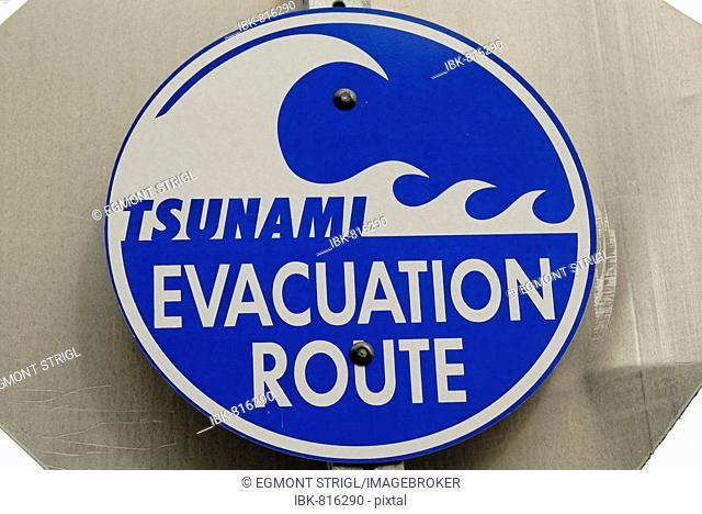 Tsunami evacuation route, warning sign, western coast of Alaska, USA