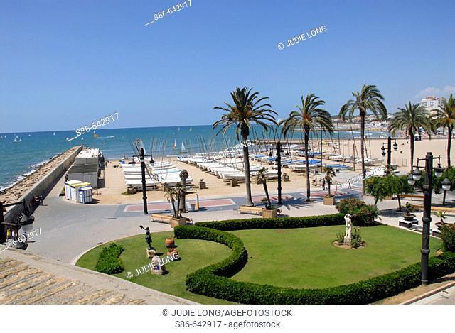 Beach at Sitges, Costa Daurada, Barcelona province, Catalonia. Spain