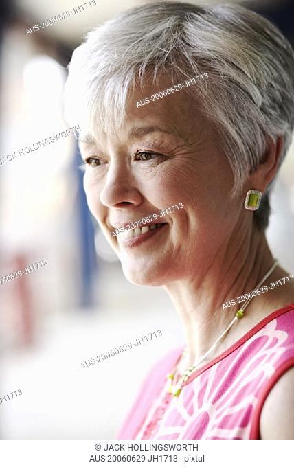 Close-up of a senior woman smiling