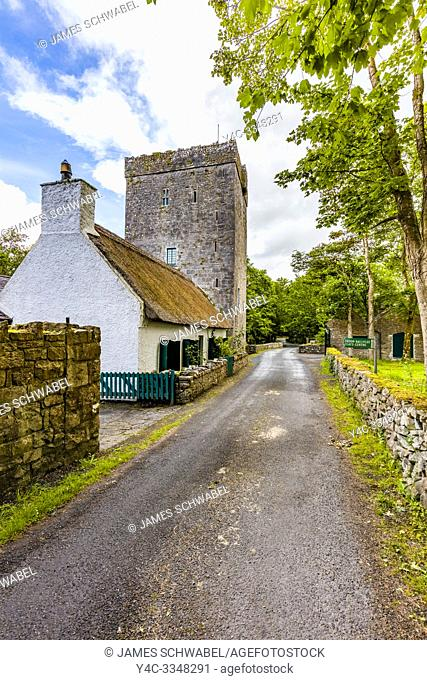 Thoor Ballylee Castle or Yeats Tower built 15th or 16th century lived in by poet William Butler Yeats in town if Gort County Galway Ireland