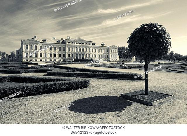 Latvia, Southern Latvia, Zemgale Region, Pilsrundale, Rundale Palace, b  1740, Bartolomeo Rastrelli, architect, exterior