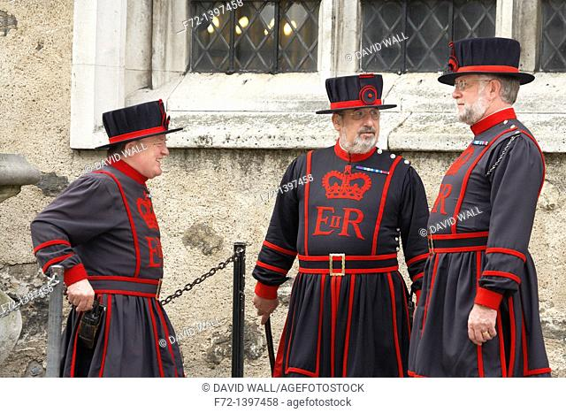 Yeoman Warders or 'Beefeaters' at the Tower of London, London, England, United Kingdom