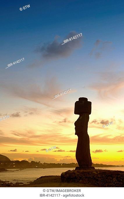 Tahai ceremonial complex at sunset, Hanga Roa, Unesco World Heritage, Rapa Nui National Park, Easter Island, Chile