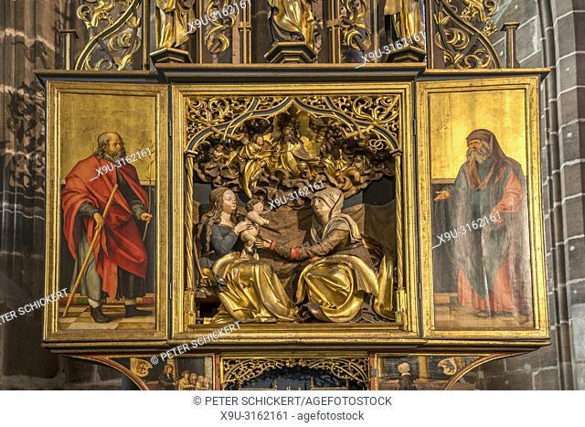 Altar, St. Lorenz church interior, Nuremberg, Bavaria, Germany