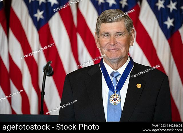 Former United States Representative Jim Ryun (Republican of Kansas) wears the Presidential Medal of Freedom that he received during a ceremony in the Blue Room...