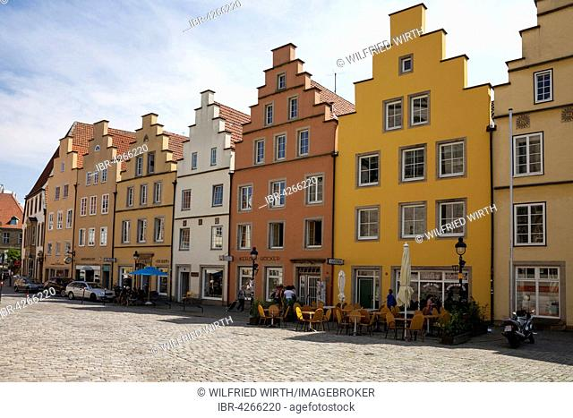 Gabled houses at the marketplace, the historic centre, Osnabrück, Lower Saxony, Germany