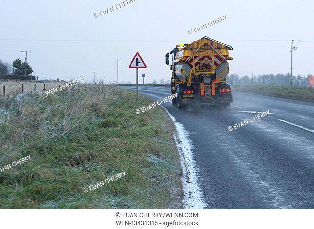 Northern Scotland is hit by snow fall and below freezing temperatures as snow arrives as far south as Montrose Featuring: gritter Where: Montrose