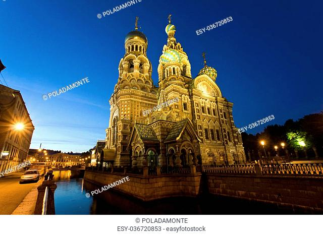 The famous colorful church of Saint Petersburg, Church of the Savior on Blood