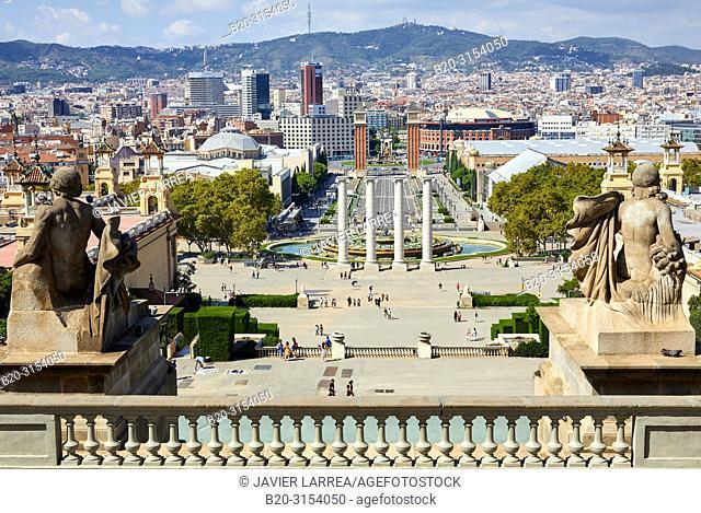 Plaza de España, View from Museu Nacional d'Art de Catalunya MNAC, Barcelona, Catalunya, Spain, Europe