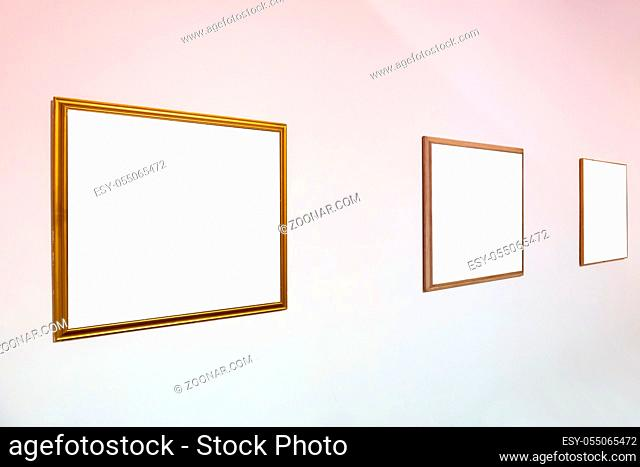 Empty blank picture wooden white isolated frame in interior on wall