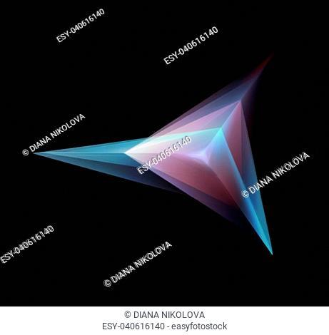Abstract Glowing Triangular Geometric Shape On Black Background