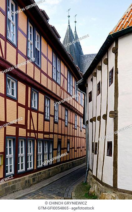Narrow Cobbled Lane Between Medieval Houses