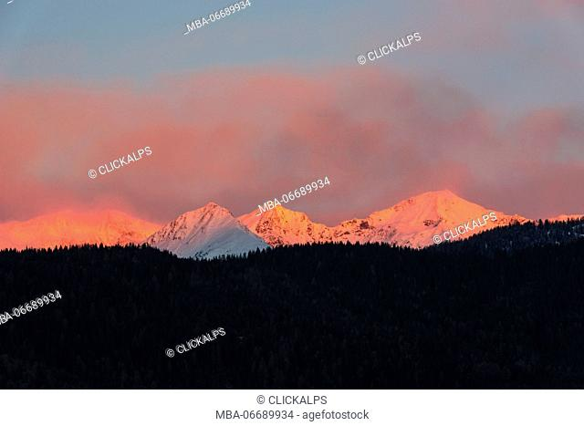 Italy, Trentino Alto Adige, Non valley, Dawn on Maddale group in a winter day