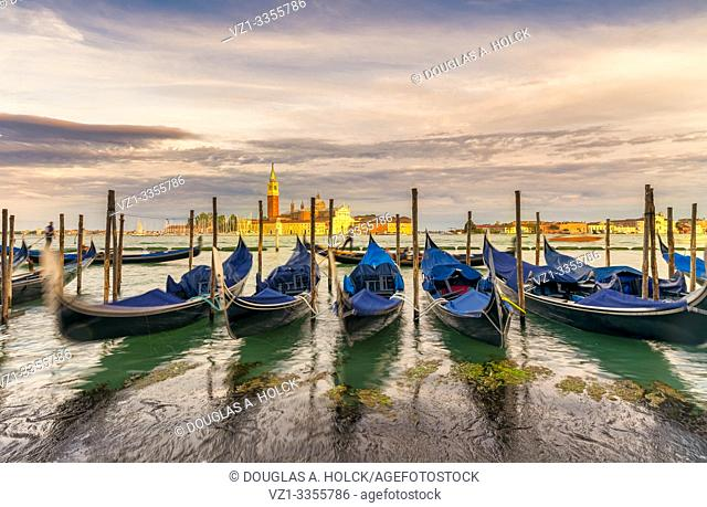 Gondolas on Grand Canal at Sunset Venice Italy World Location