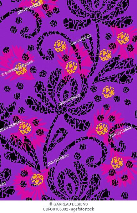 Mosaic style flower design