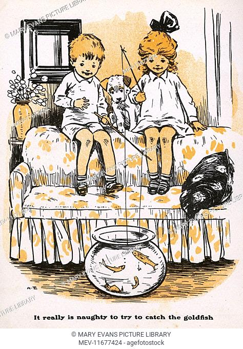 Two children fishing in a goldfish bowl, an inadvisable activity and actually quite cruel
