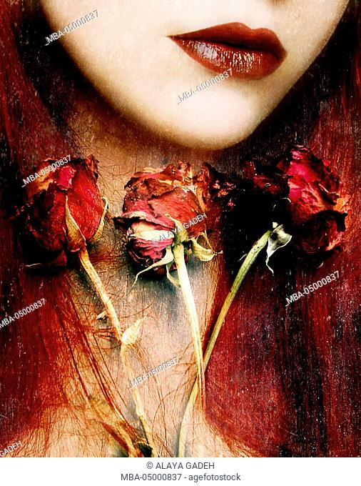 Photomontage of a portrait with roses and floral textures