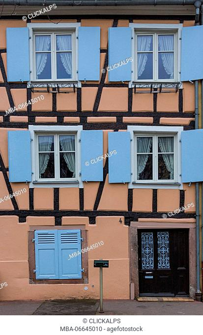 Typical architecture of colored facade of house in the medieval Petite Venise Colmar Haut-Rhin department Alsace France Europe
