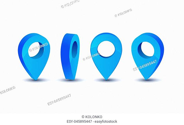 3d pointer icon for map. Pointer pin marker for travel place vector illustration