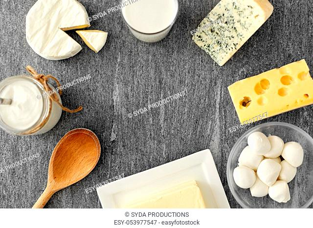 different kinds of cheese, milk, yogurt and butter
