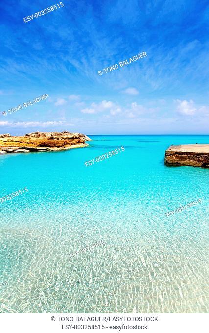 Es Calo de San Agusti port in Formentera island of Balearic Mediterranean
