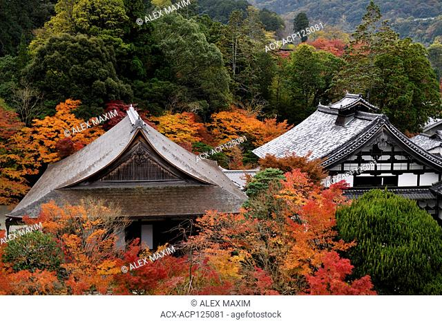 Roofs of Nanzen-ji Buddhist temple complex historic buildings in colorful autumn scenery, traditional Japanese architecture details, Sakyo-ku, Kyoto, Japan 2017