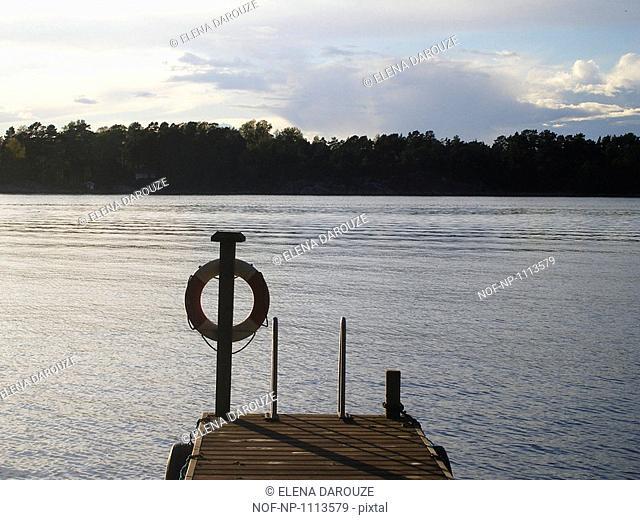 A lifebuoy by an archipelago, Sweden