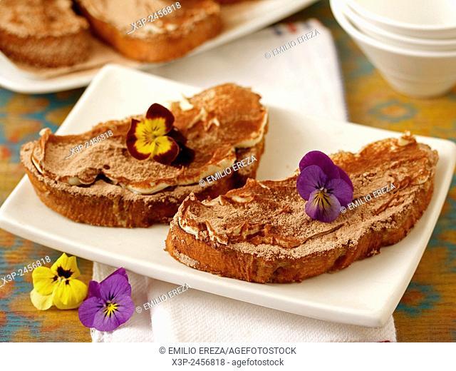 Tiramisu torrijas. Traditional Spanish dish