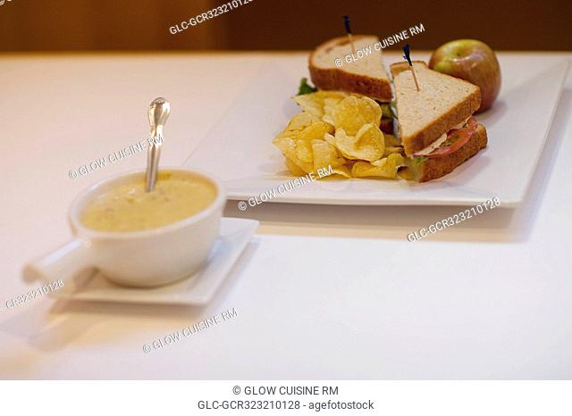 High angle view of sandwiches and soup