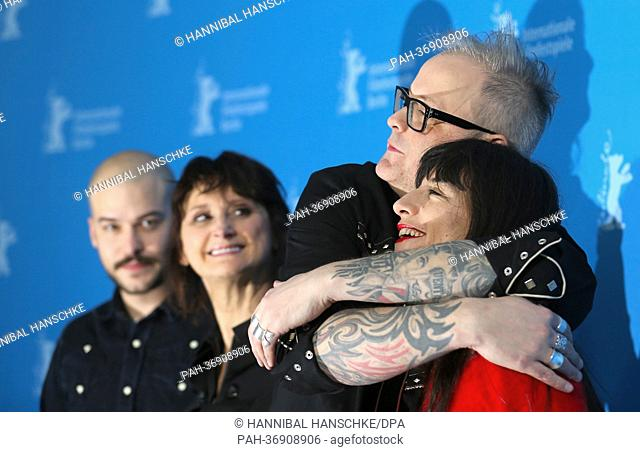 Canadian director Denis Cote (2nd R) poses with Canadian actors Marc-Andre Grondin (L), Pierrette Robitaille and French actress Romane Bohringer (R) at a...