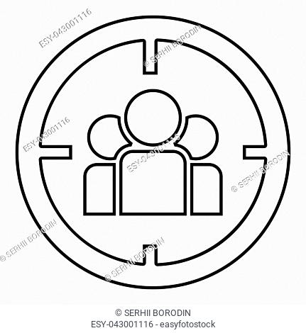 People in target or target audience icon black color vector illustration flat style outline