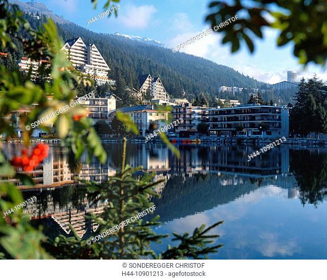 Switzerland, Europe, Valais, Crans Montana, tourism, travel, Lac Grenon, lake, summer, hotel, wood, forest, reflection