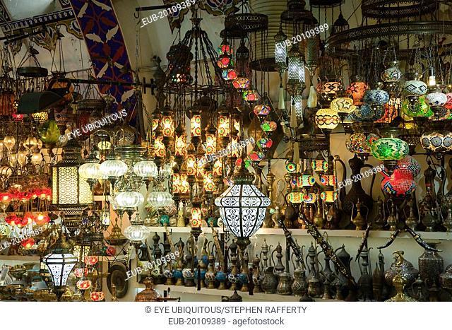 Fatih, Sultanahmet, Kapalicarsi, Ornate lamps display in the Grand Bazaar