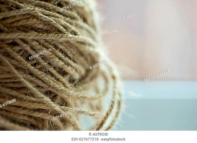 hank of coarse rope with copy-space