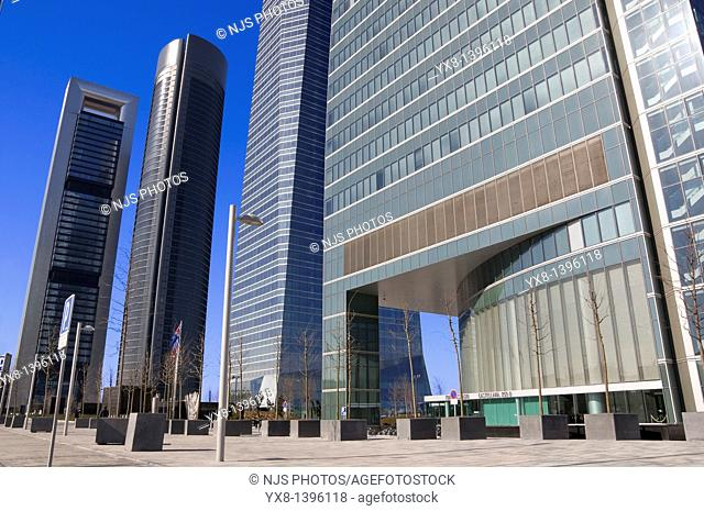 Entrance of Espacio Tower and behind the another three financial buildings, located in Cuatro Torres Business Area of Madrid, Comunidad de Madrid, Spain, Europe