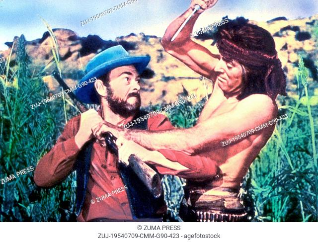 Jul 09, 1954; Sedona, AZ, USA; JOHN MCINTIRE (right) as Al Sieber and BURT LANCASTER as Massai in the western film 'Apache' directed by Robert Aldrich
