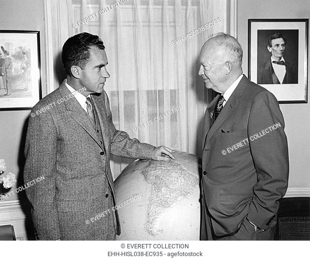 President Eisenhower meeting with VP Richard Nixon prior to his South American trip. April 25, 1958. - (BSLOC-2014-16-128)