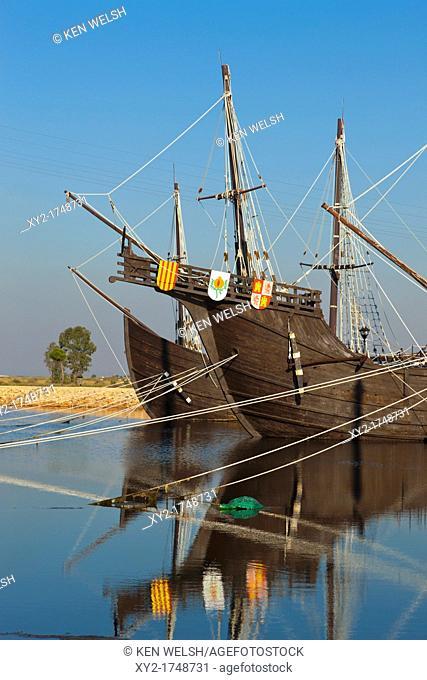 Replicas of the ships Columbus sailed to the Americas in at El Muelle de las Carabelas, or The Wharf of the Caravels at Palos de la Frontera, Huelva Province