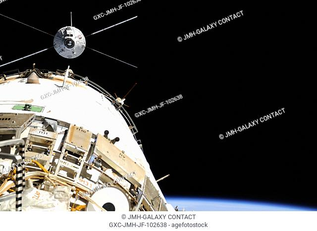 The European Space Agency's Automated Transfer Vehicle-4 (ATV-4) Albert Einstein approaches the International Space Station