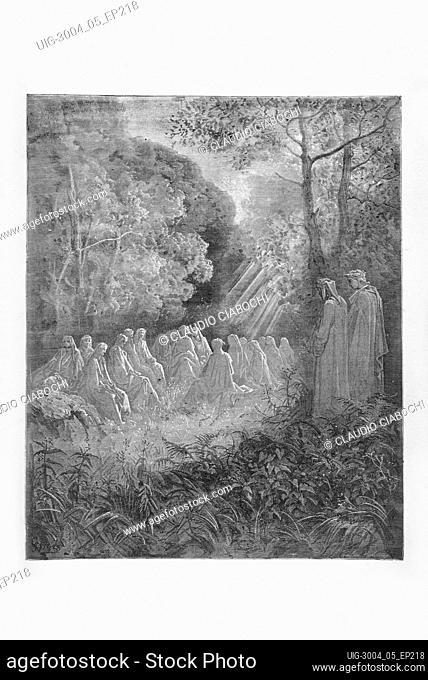 Gustave Doré, The Divine Comedy, La Divina Commedia, Purgatorio, canto VII, v. 82-84, 1887, print engraving, (Ambrosini collection)