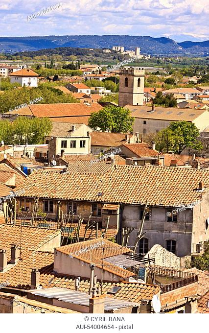 France, Arles, cityscape, rooftops, belfry