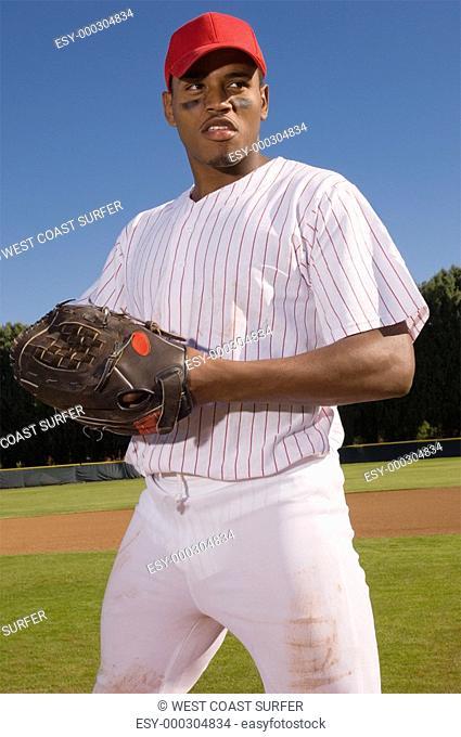 Baseball pitcher outdoors