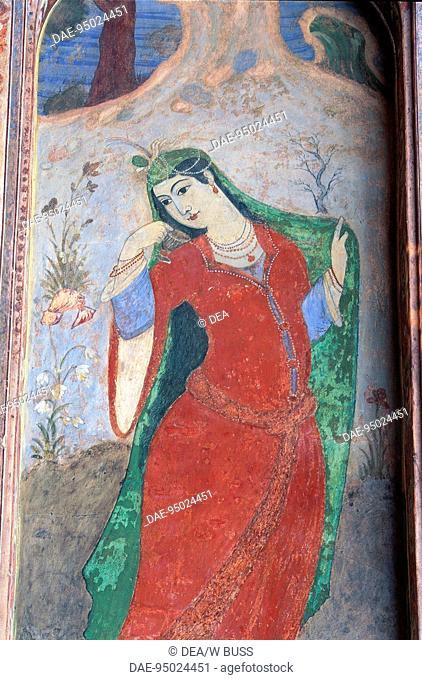 Iran - Esfahan - Meidan Emam (World Heritage Site by UNESCO, 1979) - Palace of Ali Qapu. Detail of a fresco