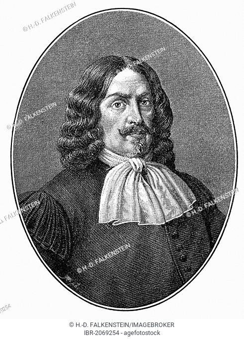 Historical engraving, portrait of Justus Georg Schottelius, 1612-1676, German poet and linguist of the Baroque period, 19th century