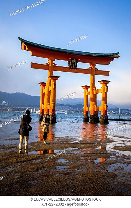 O torii Gate, the giant torii gate that is part of the Itsukushima Shinto Shrine complex, in Itsukushima Island. Also called Miyajima Island, near Hiroshima