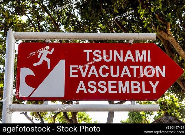 Tsunami Warning Sign, Sanur Beach, Bali, Indonesia