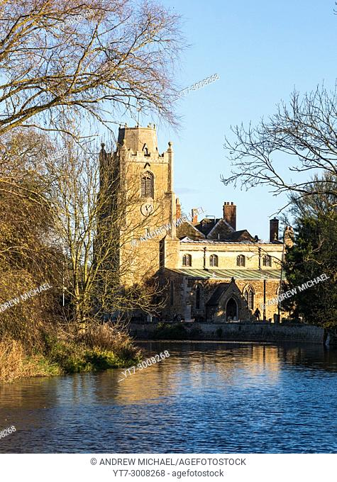 St James church on the River Great Ouse at Hemingford Grey Cambridgeshire England UK