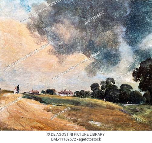 View at Hampstead, looking due East, 1823, by John Constable (1776-1837), oil on paper. United Kingdom, 19th century.  London, Victoria And Albert Museum