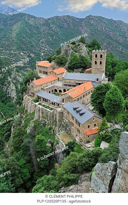The Saint-Martin-du-Canigou abbey at Casteil in the Pyrenees, France